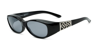 Angle of The Adele Medium Fits Over Sunglasses by Solar Shield in Black with Smoke, Women's and Men's
