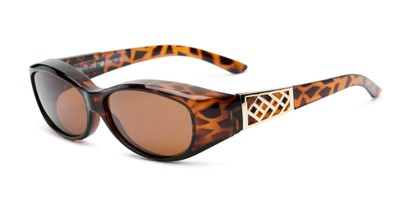 Angle of The Adele Medium Fits Over Sunglasses by Solar Shield in Tortoise with Amber, Women's and Men's