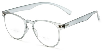 Angle of The Chatham Flexible Bifocal in Grey, Women's and Men's Round Reading Glasses