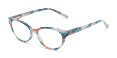 Angle of The Fauna in Blue/Orange, Women's Cat Eye Reading Glasses