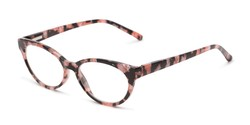 Angle of The Fauna in Pink/Black, Women's Cat Eye Reading Glasses