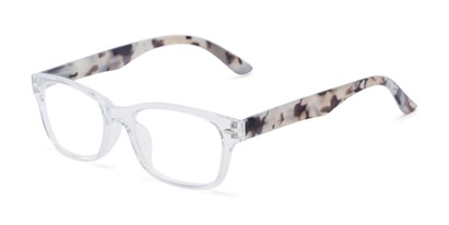 Angle of The Feeney in Clear/Tan Marble, Women's and Men's Retro Square Reading Glasses