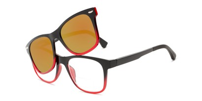 Angle of The Ferris Polarized Magnetic Bifocal Reading Sunglasses in Glossy Black/Red Fade with Orange Mirror, Women's and Men's Retro Square Reading Sunglasses