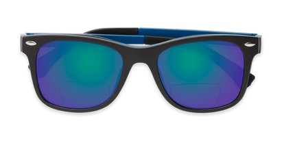 Folded of The Ferris Polarized Magnetic Bifocal Reading Sunglasses in Matte Black with Blue Mirror