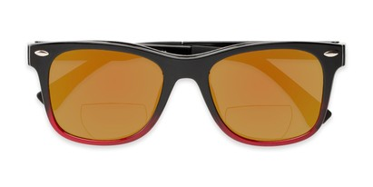 Folded of The Ferris Polarized Magnetic Bifocal Reading Sunglasses in Glossy Black/Red Fade with Orange Mirror