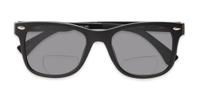 Folded of The Ferris Polarized Magnetic Bifocal Reading Sunglasses in Matte Black with Smoke