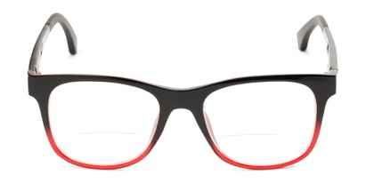 Front of The Ferris Polarized Magnetic Bifocal Reading Sunglasses in Glossy Black/Red Fade with Orange Mirror