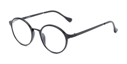 Angle of The Fillmore in Black, Women's and Men's Round Reading Glasses