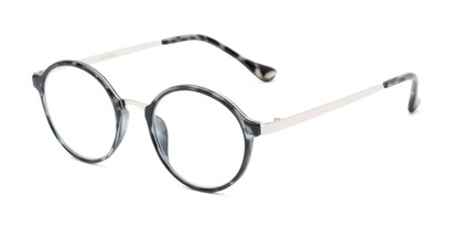 Angle of The Fillmore in Black Tortoise/Silver, Women's and Men's Round Reading Glasses