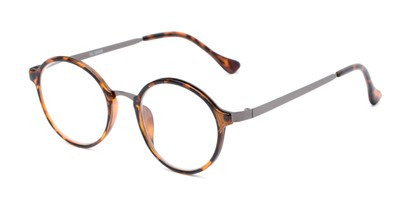 Angle of The Fillmore in Brown Tortoise/Grey, Women's and Men's Round Reading Glasses