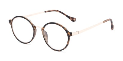 Angle of The Fillmore in Matte Brown Tortoise/Gold, Women's and Men's Round Reading Glasses