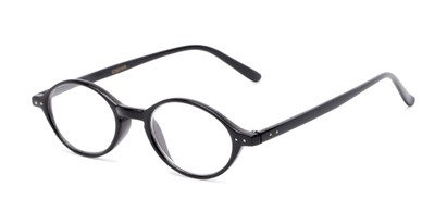 Angle of The Finch in Black, Women's and Men's Oval Reading Glasses