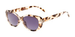 Angle of The Firefly Reading Sunglasses in Tan Tortoise with Smoke, Women's Oval Reading Sunglasses