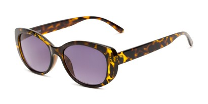 Angle of The Firefly Reading Sunglasses in Yellow Tortoise with Smoke, Women's Oval Reading Sunglasses