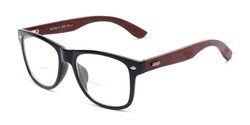Angle of The Fitzgerald Recycled Wood Bifocal in Black/Brown, Women's and Men's Retro Square Reading Glasses