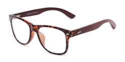 Angle of The Fitzgerald Recycled Wood Bifocal in Tortoise/Brown, Women's and Men's Retro Square Reading Glasses
