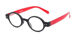 Angle of The Flamingo in Black/Red, Women's and Men's Round Reading Glasses