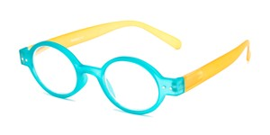Angle of The Flamingo in Blue/Yellow, Women's and Men's Round Reading Glasses
