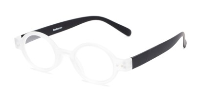 Angle of The Flamingo in Clear/Black, Women's and Men's Round Reading Glasses