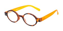 Angle of The Flamingo in Tortoise/Orange, Women's and Men's Round Reading Glasses