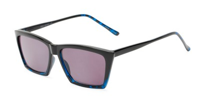 Angle of The Flax Reading Sunglasses in Black/Blue Tortoise with Smoke, Women's Cat Eye Reading Sunglasses