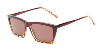 Angle of The Flax Reading Sunglasses in Brown/Tortoise with Amber, Women's Cat Eye Reading Sunglasses