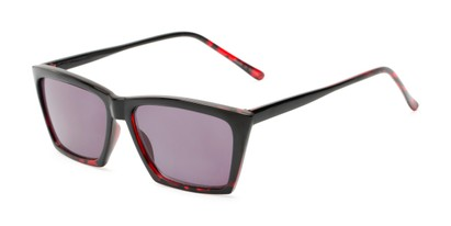 Angle of The Flax Reading Sunglasses in Black/Red Tortoise with Smoke, Women's Cat Eye Reading Sunglasses