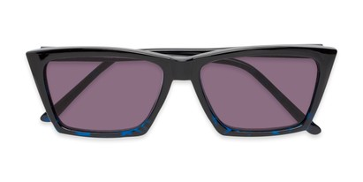 Folded of The Flax Reading Sunglasses in Black/Blue Tortoise with Smoke