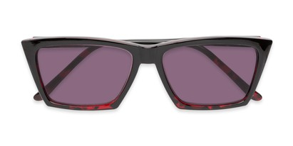 Folded of The Flax Reading Sunglasses in Black/Red Tortoise with Smoke