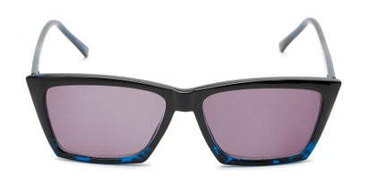 Front of The Flax Reading Sunglasses in Black/Blue Tortoise with Smoke