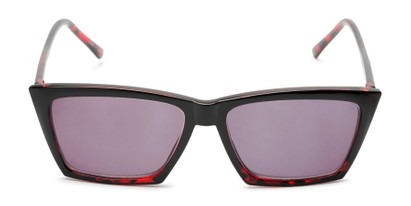 Front of The Flax Reading Sunglasses in Black/Red Tortoise with Smoke