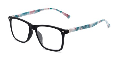 Angle of The Flora in Matte Black/Floral, Women's Retro Square Reading Glasses