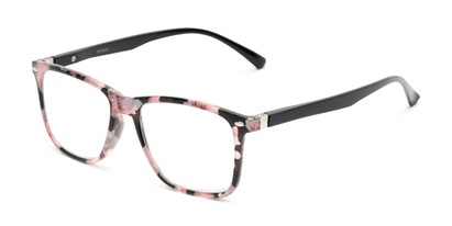 Angle of The Flora in Pink Floral/Black, Women's Retro Square Reading Glasses