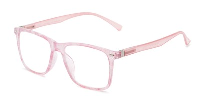 Angle of The Flora in Floral/Light Pink, Women's Retro Square Reading Glasses