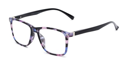 Angle of The Flora in Purple Floral/Black, Women's Retro Square Reading Glasses