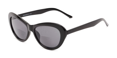 Angle of The Flossie Bifocal Reading Sunglasses in Black with Smoke, Women's Cat Eye Reading Sunglasses
