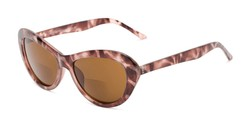 Angle of The Flossie Bifocal Reading Sunglasses in Purple Tortoise with Amber, Women's Cat Eye Reading Sunglasses