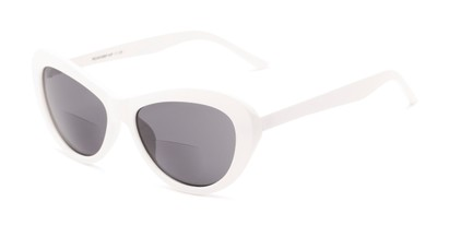 Angle of The Flossie Bifocal Reading Sunglasses in White with Smoke, Women's Cat Eye Reading Sunglasses