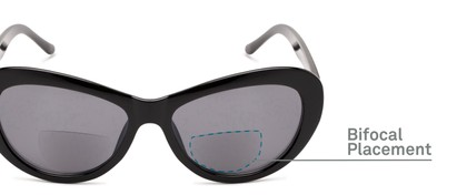 Detail of The Flossie Bifocal Reading Sunglasses in Black with Smoke