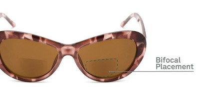 Detail of The Flossie Bifocal Reading Sunglasses in Purple Tortoise with Amber