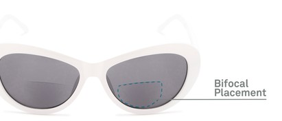 Detail of The Flossie Bifocal Reading Sunglasses in White with Smoke