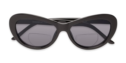 Folded of The Flossie Bifocal Reading Sunglasses in Black with Smoke