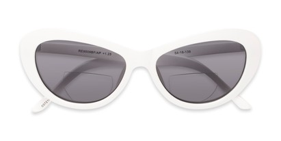 Folded of The Flossie Bifocal Reading Sunglasses in White with Smoke