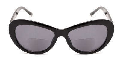 Front of The Flossie Bifocal Reading Sunglasses in Black with Smoke