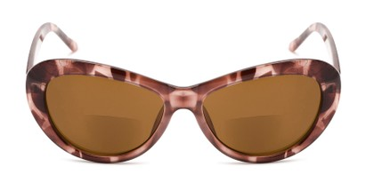 Front of The Flossie Bifocal Reading Sunglasses in Purple Tortoise with Amber