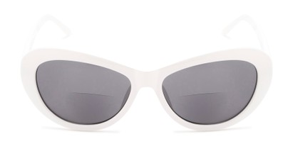 Front of The Flossie Bifocal Reading Sunglasses in White with Smoke