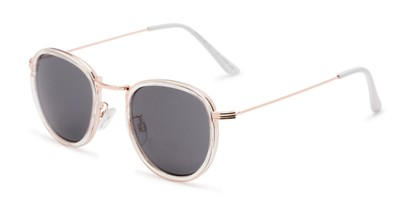 Angle of The Foley Reading Sunglasses in Clear/Gold with Smoke, Women's and Men's Round Reading Sunglasses