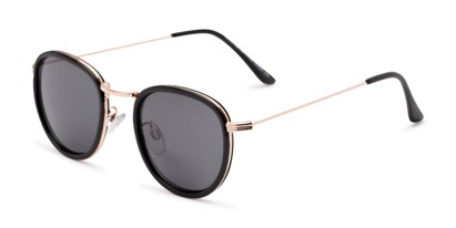 Angle of The Foley Reading Sunglasses in Black/Gold with Smoke, Women's and Men's Round Reading Sunglasses