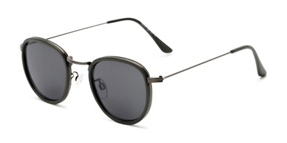 Angle of The Foley Reading Sunglasses in Grey with Smoke, Women's and Men's Round Reading Sunglasses