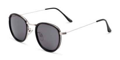 Angle of The Foley Reading Sunglasses in Black/Silver with Smoke, Women's and Men's Round Reading Sunglasses